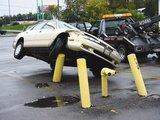 Auf Pfeiler geparkt