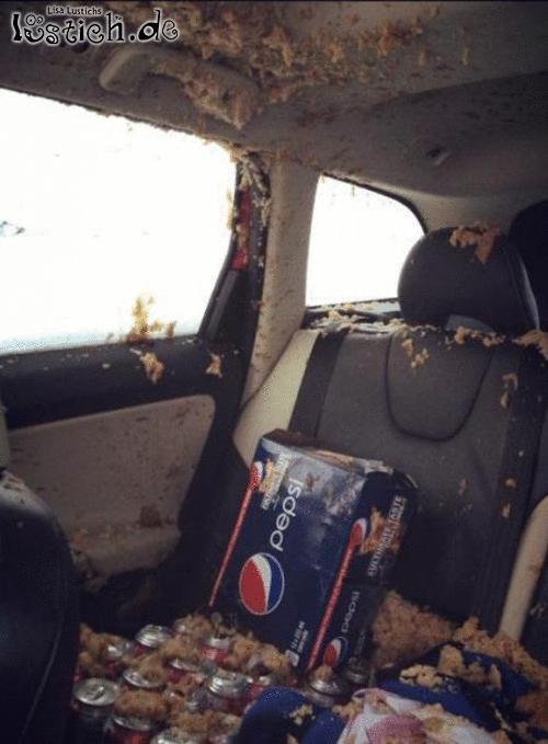 Pepsi im Auto gelassen